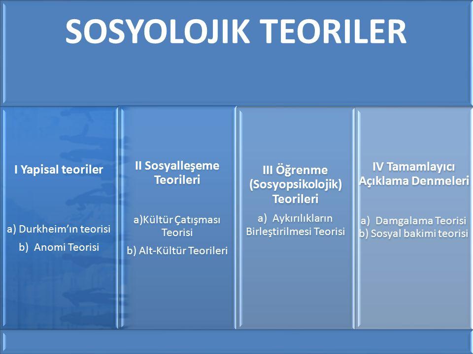 II Sosyalleşeme Teorileri III Öğrenme (Sosyopsikolojik) Teorileri