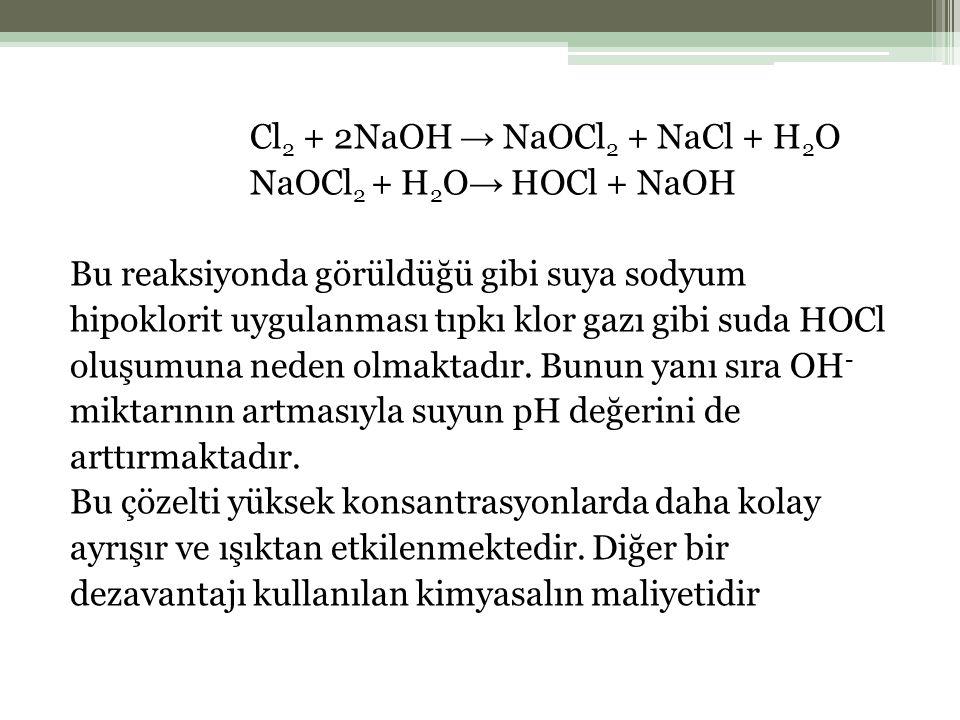 Cl2 + 2NaOH → NaOCl2 + NaCl + H2O NaOCl2 + H2O→ HOCl + NaOH Bu reaksiyonda görüldüğü gibi suya sodyum hipoklorit uygulanması tıpkı klor gazı gibi suda HOCl oluşumuna neden olmaktadır.