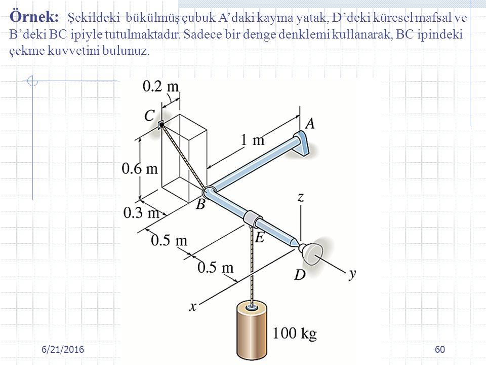 Örnek: Şekildeki bükülmüş çubuk A'daki kayma yatak, D'deki küresel mafsal ve B'deki BC ipiyle tutulmaktadır. Sadece bir denge denklemi kullanarak, BC ipindeki çekme kuvvetini bulunuz.