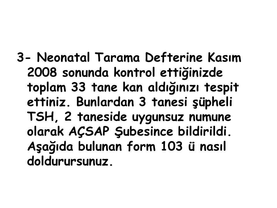 3- Neonatal Tarama Defterine Kasım 2008 sonunda kontrol ettiğinizde toplam 33 tane kan aldığınızı tespit ettiniz.