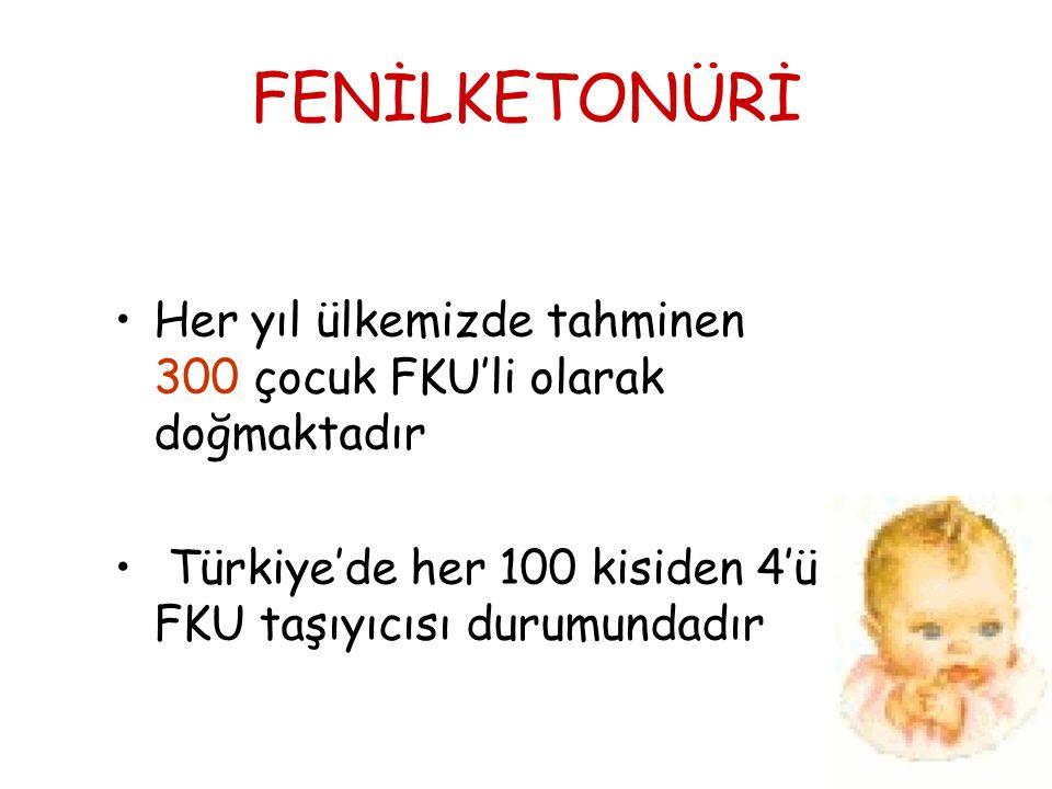 FENİLKETONÜRİ Her yıl ülkemizde tahminen 300 çocuk FKU'li olarak doğmaktadır.