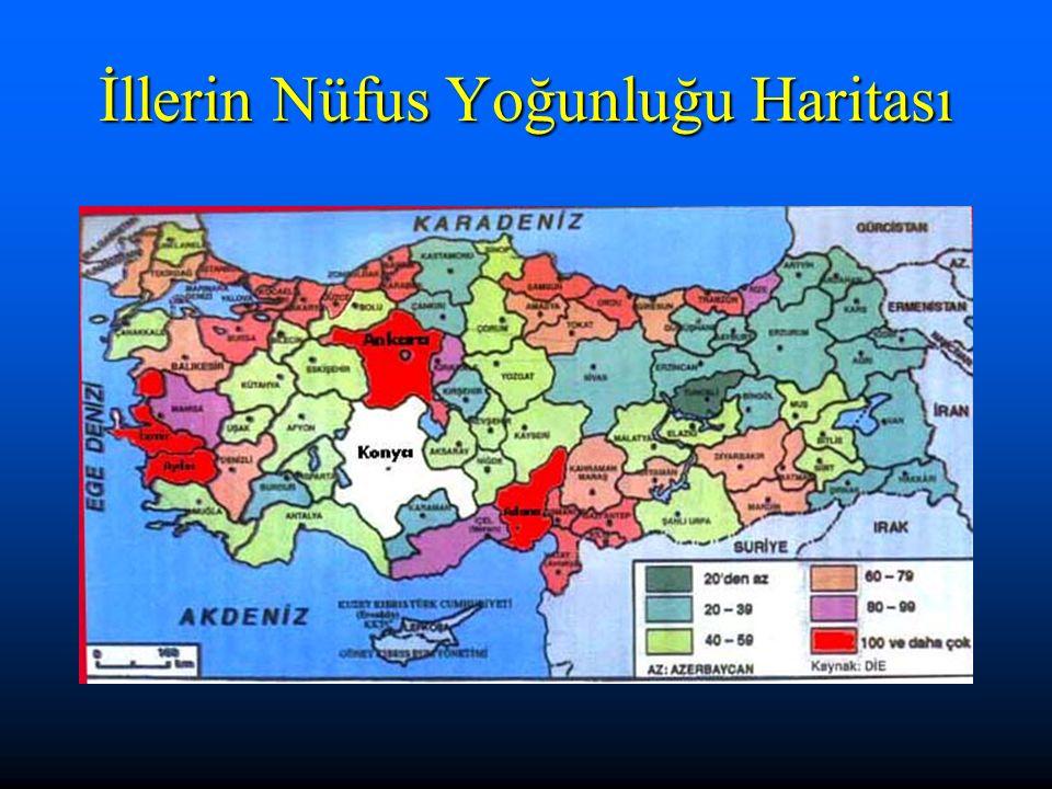 İllerin Nüfus Yoğunluğu Haritası