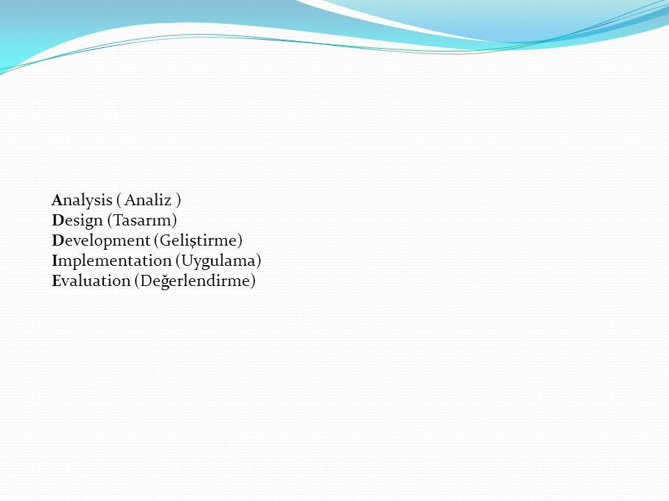 Analysis ( Analiz ) Design (Tasarım) Development (Geliştirme) Implementation (Uygulama) Evaluation (Değerlendirme)