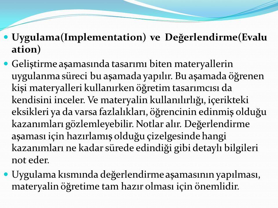 Uygulama(Implementation) ve Değerlendirme(Evaluation)