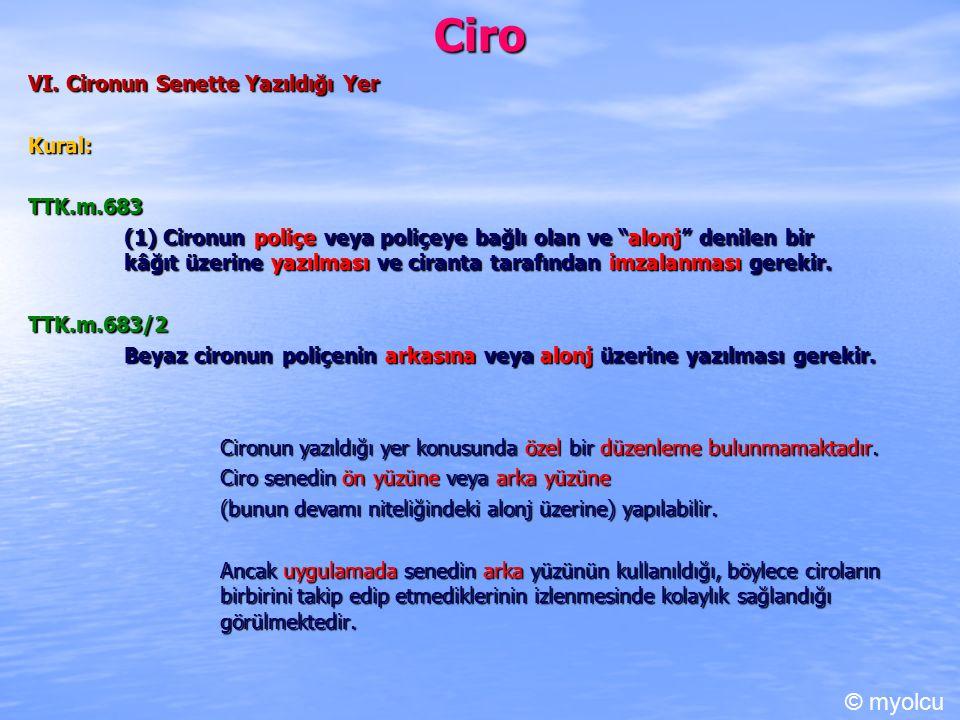 Ciro © myolcu VI. Cironun Senette Yazıldığı Yer Kural: TTK.m.683