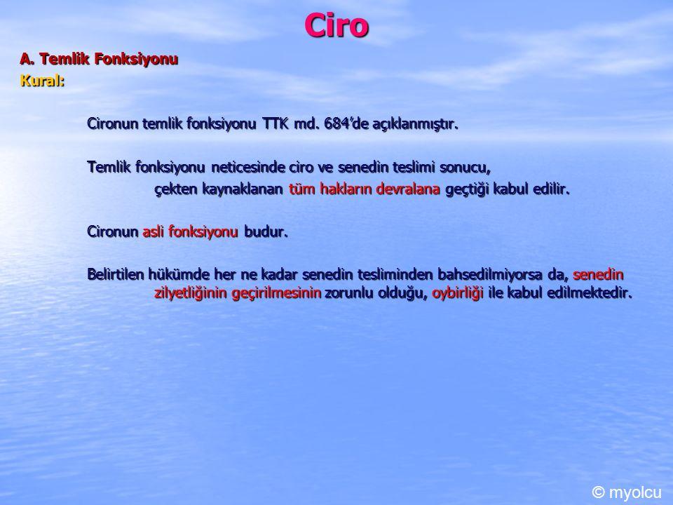 Ciro © myolcu A. Temlik Fonksiyonu Kural: