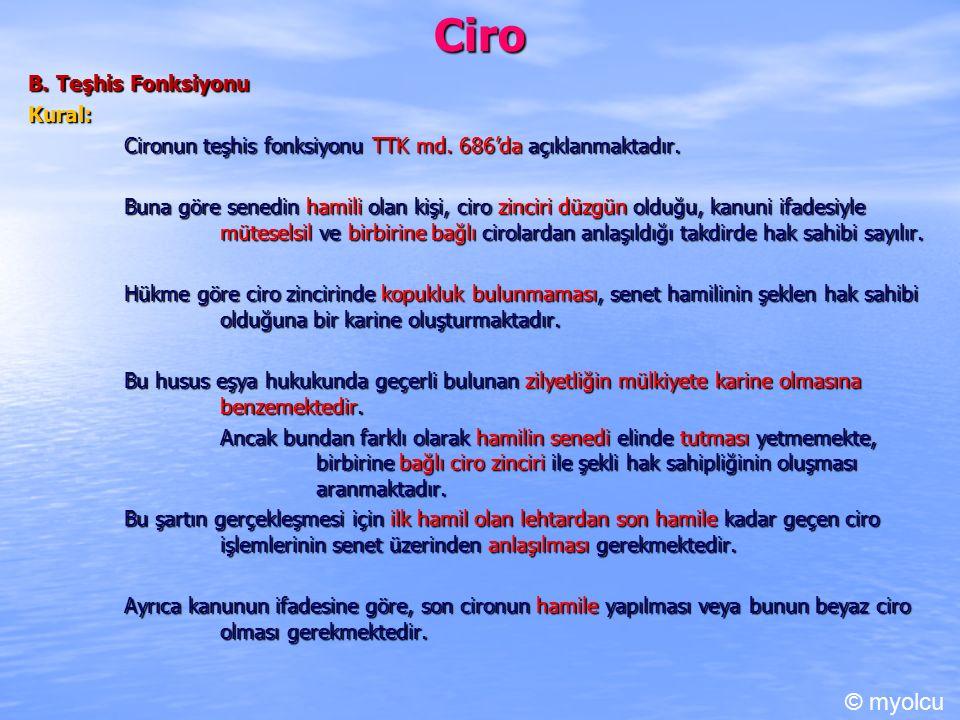 Ciro © myolcu B. Teşhis Fonksiyonu Kural: