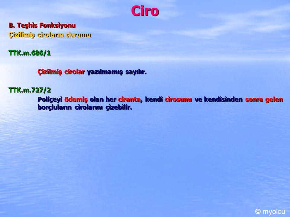 Ciro © myolcu B. Teşhis Fonksiyonu Çizilimiş ciroların durumu