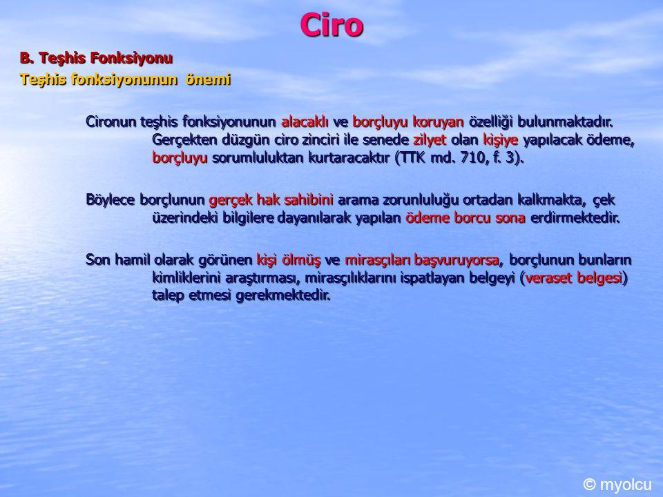Ciro © myolcu B. Teşhis Fonksiyonu Teşhis fonksiyonunun önemi