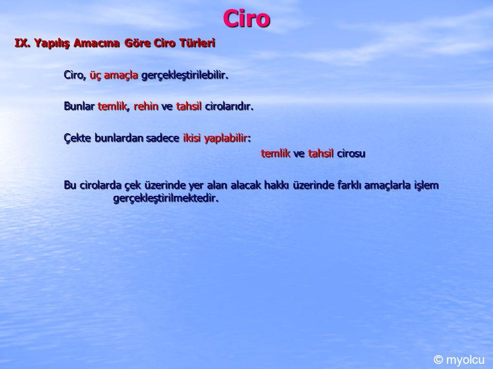 Ciro © myolcu IX. Yapılış Amacına Göre Ciro Türleri