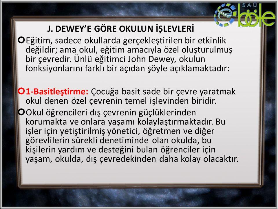 J. DEWEY'E GÖRE OKULUN İŞLEVLERİ