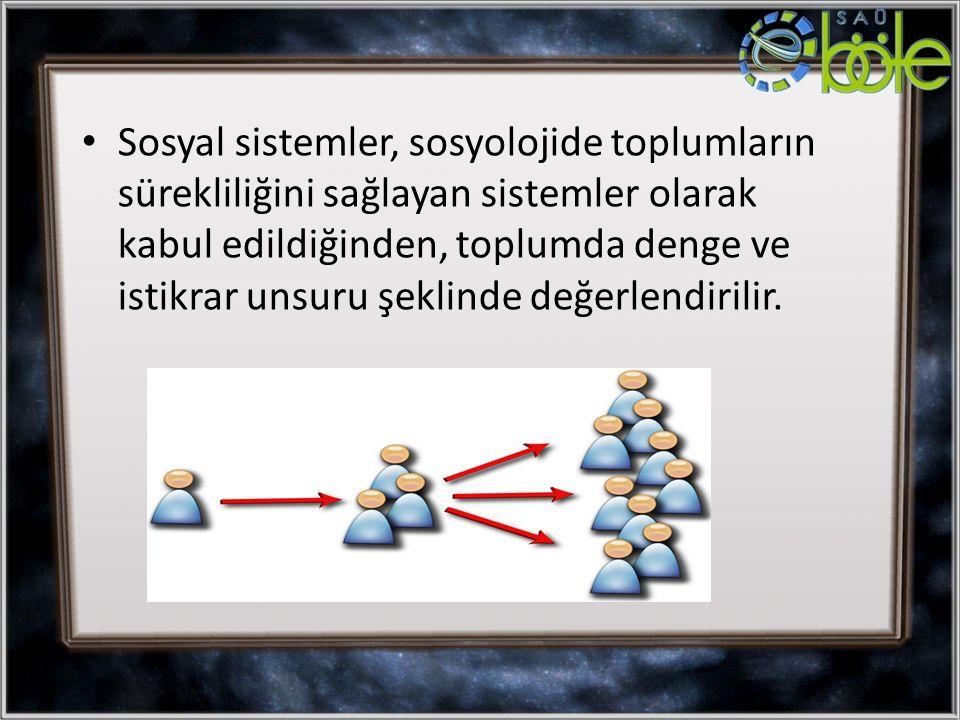 Sosyal sistemler, sosyolojide toplumların sürekliliğini sağlayan sistemler olarak kabul edildiğinden, toplumda denge ve istikrar unsuru şeklinde değerlendirilir.