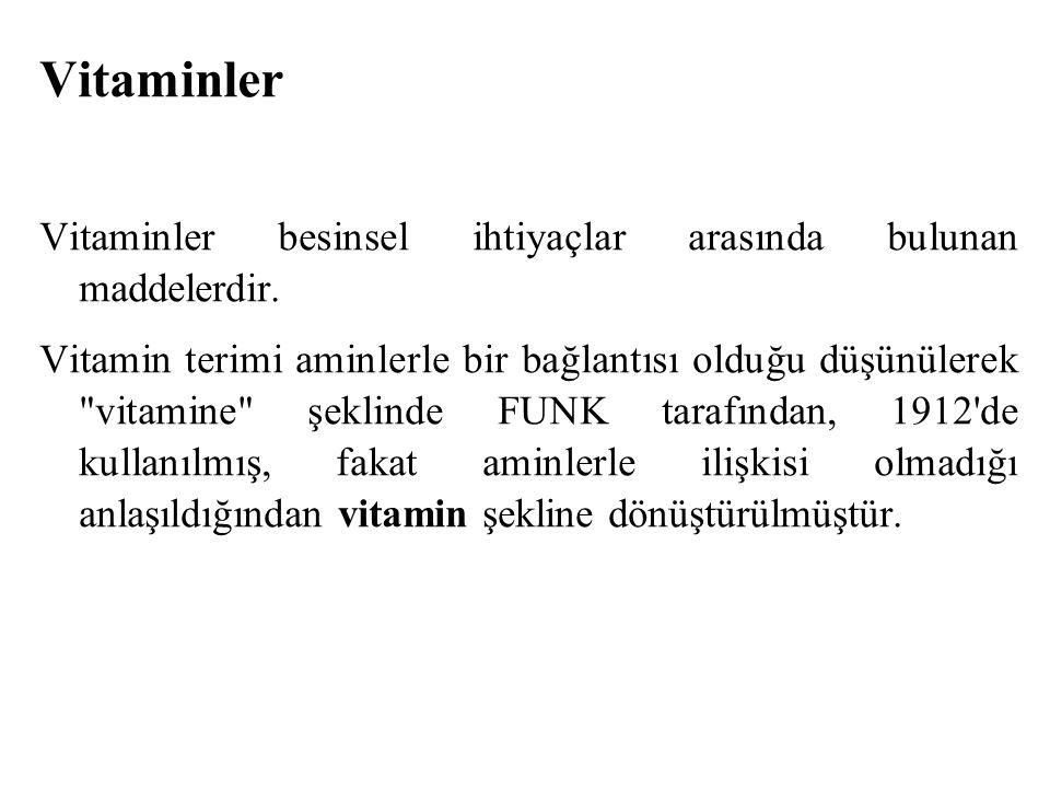 Vitaminler Vitaminler besinsel ihtiyaçlar arasında bulunan maddelerdir.