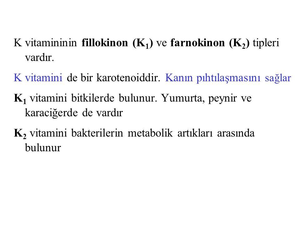 K vitamininin fillokinon (K1) ve farnokinon (K2) tipleri vardır.