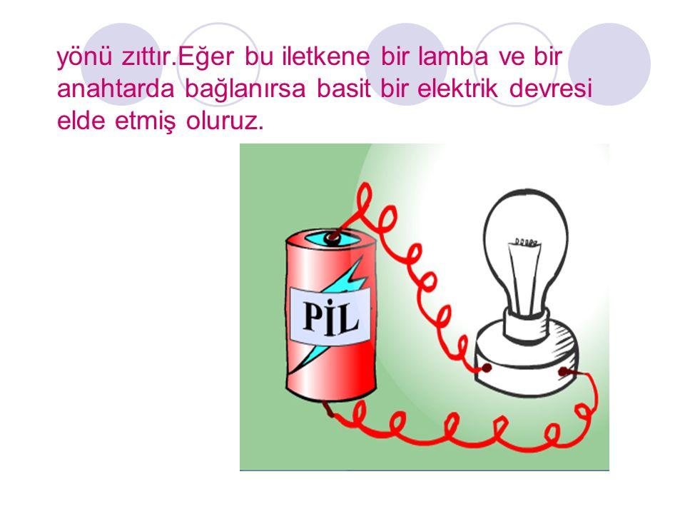 yönü zıttır.Eğer bu iletkene bir lamba ve bir anahtarda bağlanırsa basit bir elektrik devresi elde etmiş oluruz.