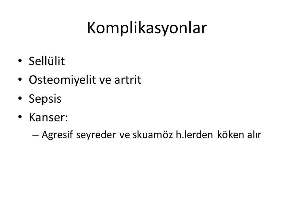 Komplikasyonlar Sellülit Osteomiyelit ve artrit Sepsis Kanser: