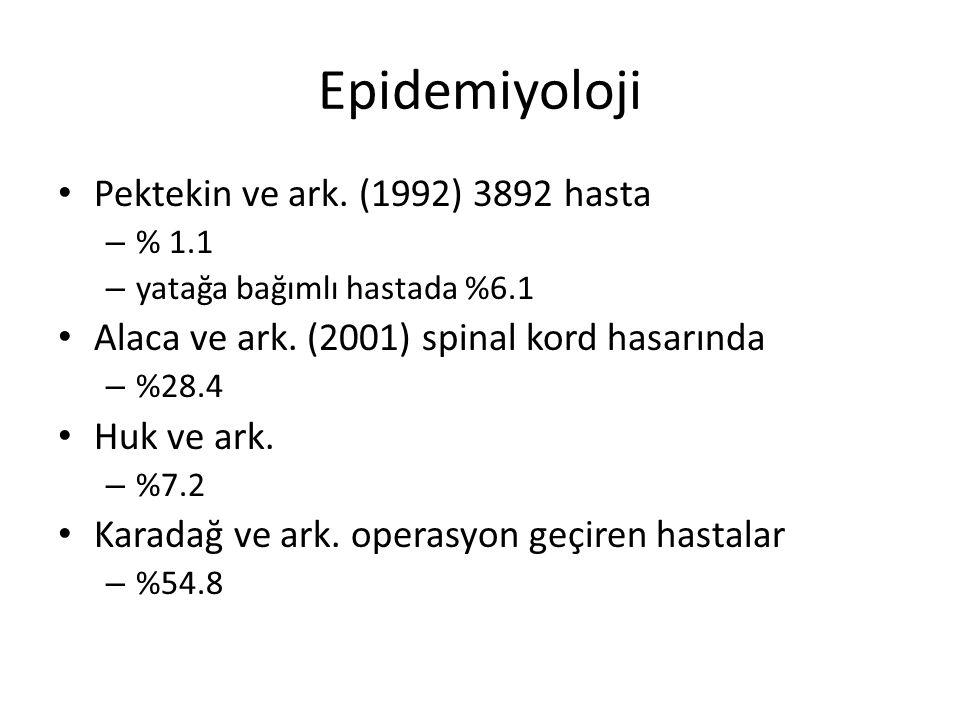 Epidemiyoloji Pektekin ve ark. (1992) 3892 hasta