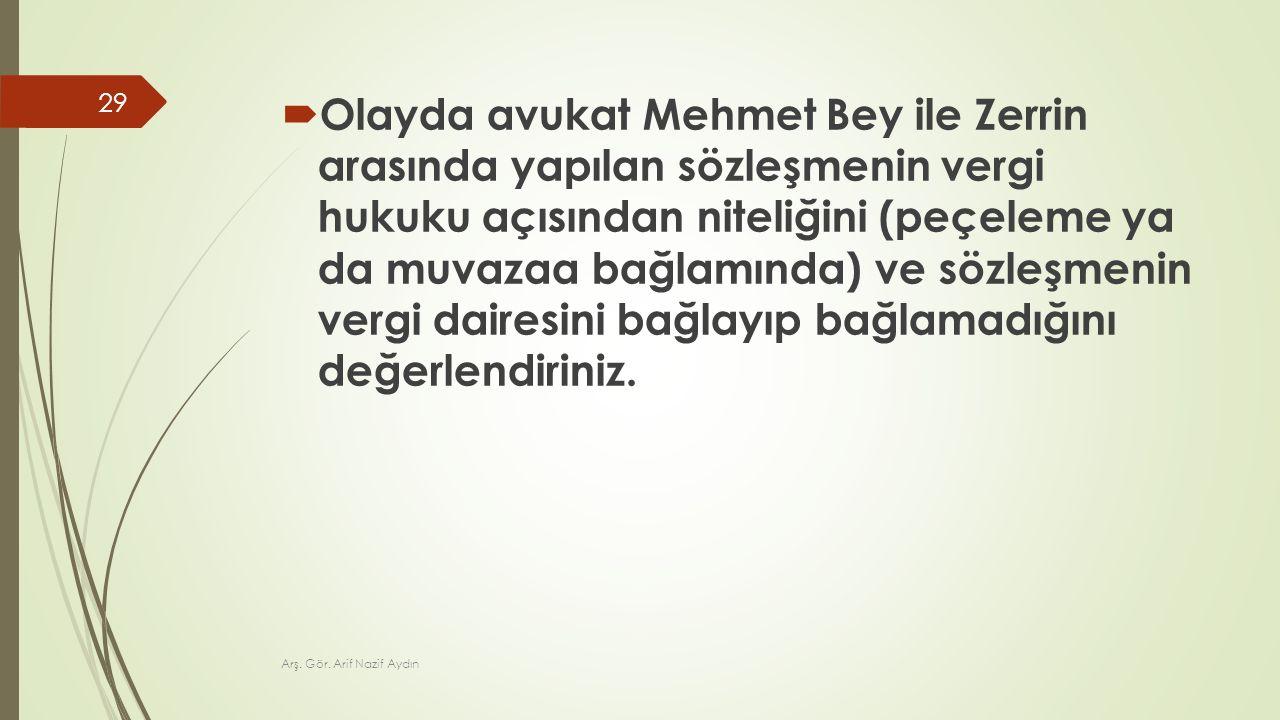 Olayda avukat Mehmet Bey ile Zerrin arasında yapılan sözleşmenin vergi hukuku açısından niteliğini (peçeleme ya da muvazaa bağlamında) ve sözleşmenin vergi dairesini bağlayıp bağlamadığını değerlendiriniz.