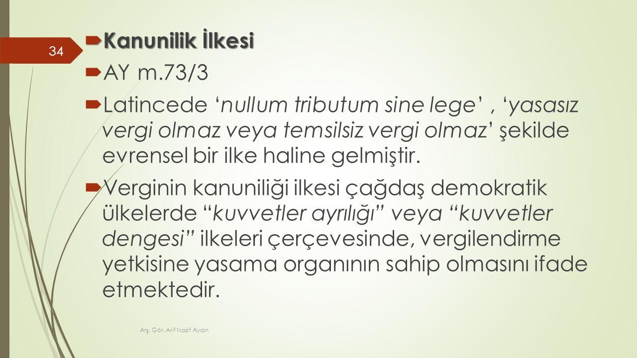 Kanunilik İlkesi AY m.73/3.