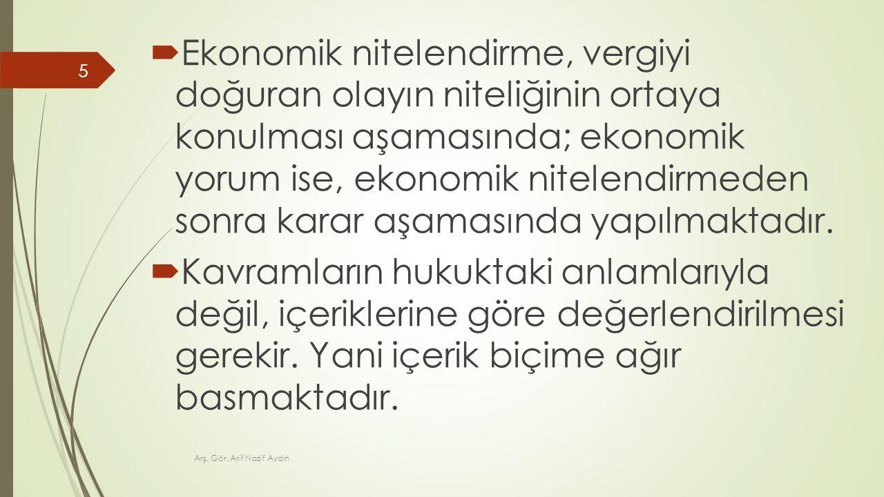 Ekonomik nitelendirme, vergiyi doğuran olayın niteliğinin ortaya konulması aşamasında; ekonomik yorum ise, ekonomik nitelendirmeden sonra karar aşamasında yapılmaktadır.