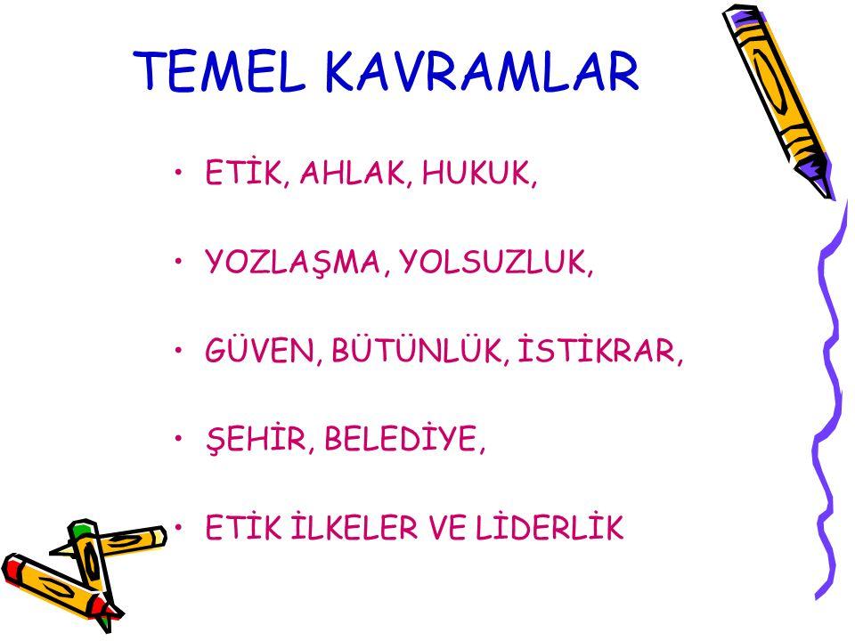 TEMEL KAVRAMLAR ETİK, AHLAK, HUKUK, YOZLAŞMA, YOLSUZLUK,