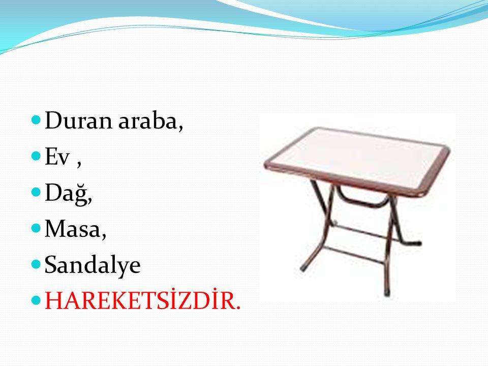 Duran araba, Ev , Dağ, Masa, Sandalye HAREKETSİZDİR.