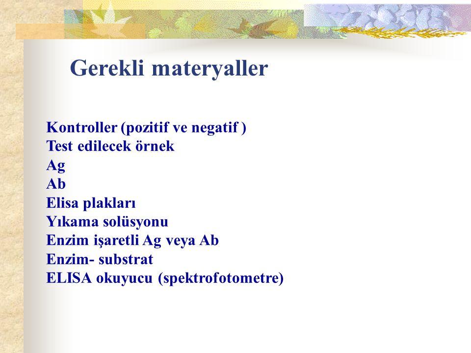 Gerekli materyaller Kontroller (pozitif ve negatif )