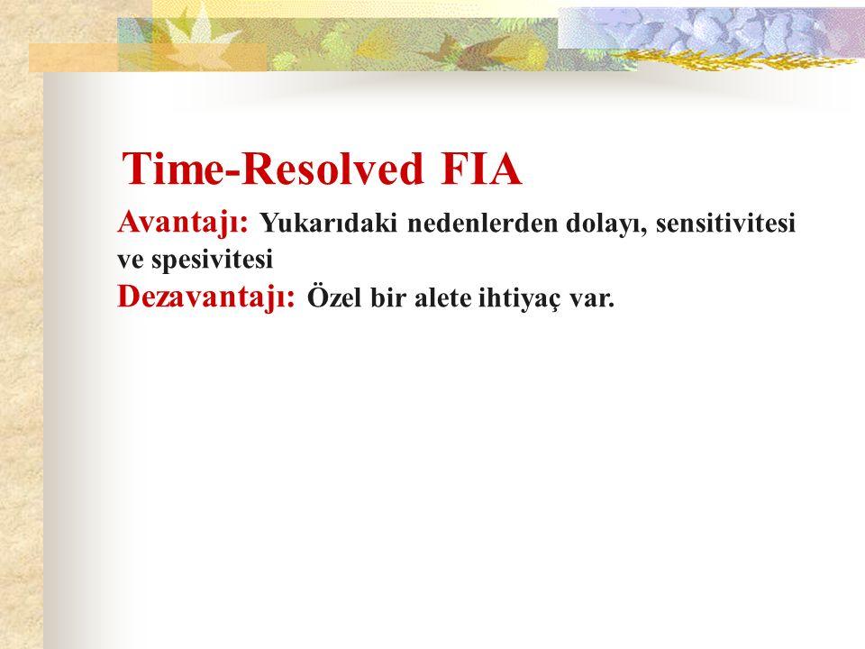 Time-Resolved FIA Avantajı: Yukarıdaki nedenlerden dolayı, sensitivitesi ve spesivitesi.