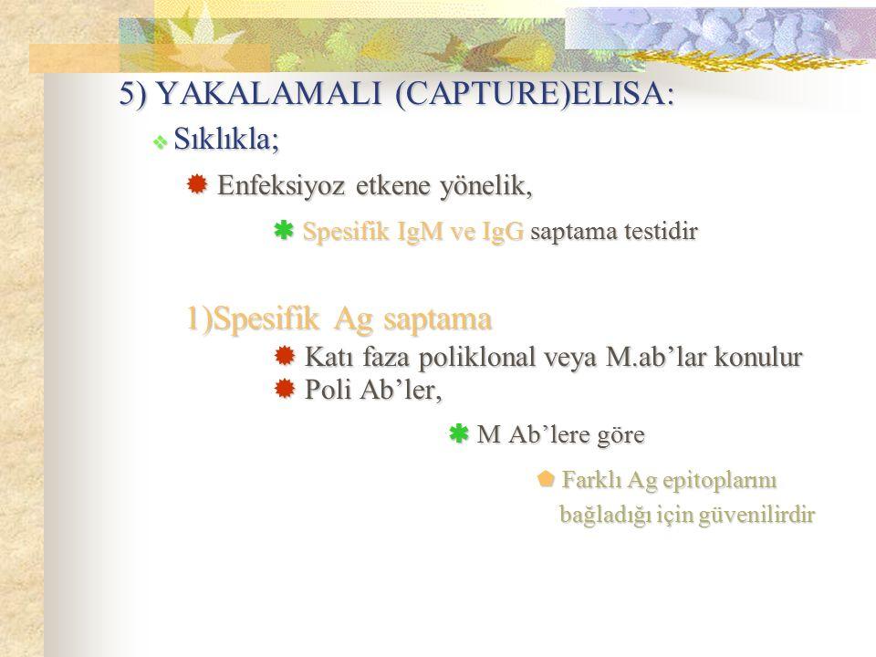 5) YAKALAMALI (CAPTURE)ELISA:  Enfeksiyoz etkene yönelik,