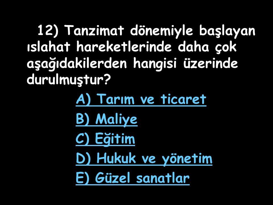 A) Tarım ve ticaret B) Maliye C) Eğitim D) Hukuk ve yönetim
