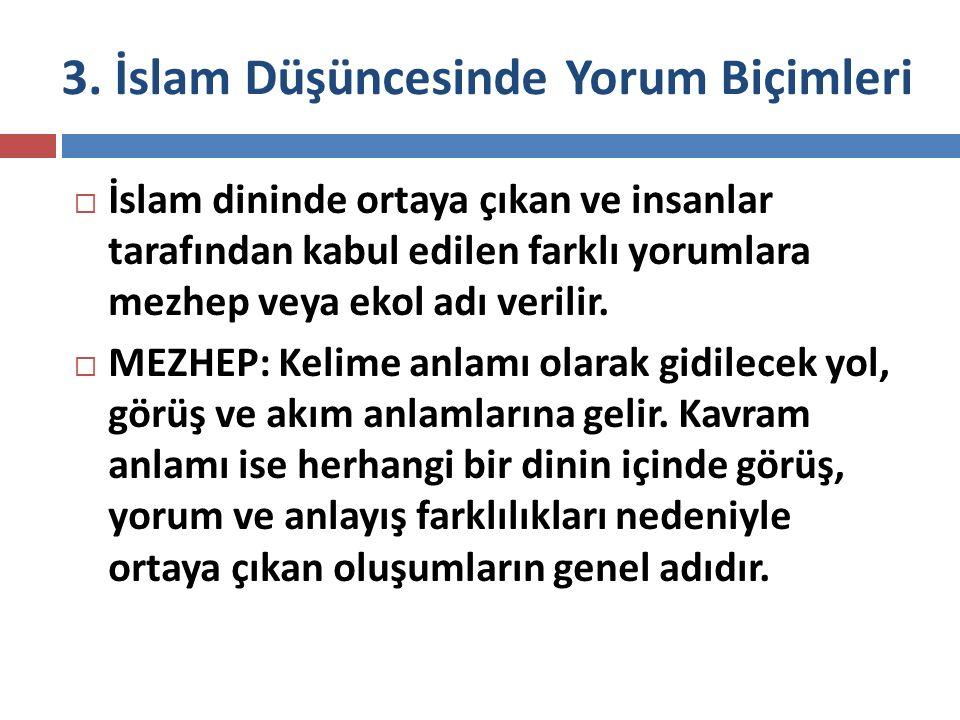 3. İslam Düşüncesinde Yorum Biçimleri