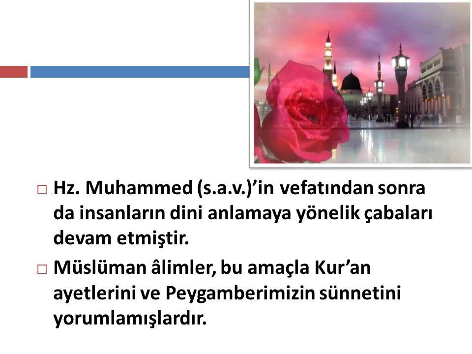 Hz. Muhammed (s.a.v.)'in vefatından sonra da insanların dini anlamaya yönelik çabaları devam etmiştir.