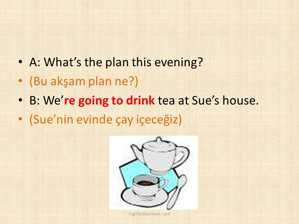A: What's the plan this evening (Bu akşam plan ne )
