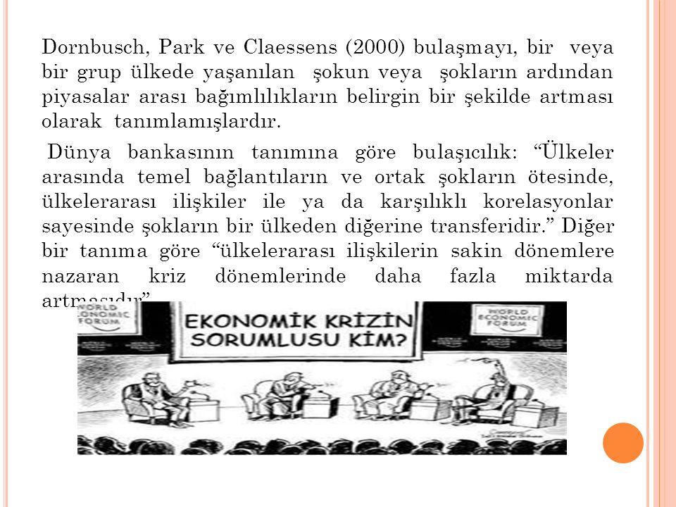 Dornbusch, Park ve Claessens (2000) bulaşmayı, bir veya bir grup ülkede yaşanılan şokun veya şokların ardından piyasalar arası bağımlılıkların belirgin bir şekilde artması olarak tanımlamışlardır.