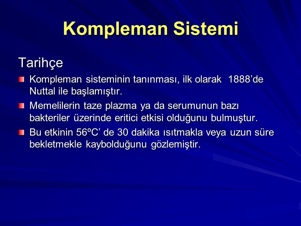 Kompleman Sistemi Tarihçe