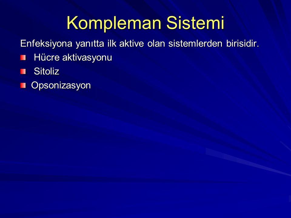 Kompleman Sistemi Enfeksiyona yanıtta ilk aktive olan sistemlerden birisidir. Hücre aktivasyonu. Sitoliz.
