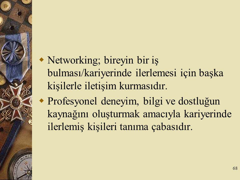 Networking; bireyin bir iş bulması/kariyerinde ilerlemesi için başka kişilerle iletişim kurmasıdır.