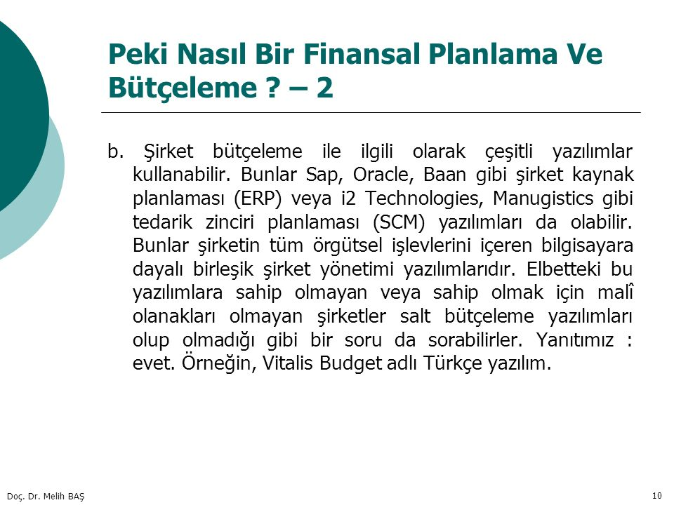 Peki Nasıl Bir Finansal Planlama Ve Bütçeleme – 2
