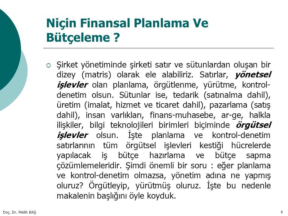Niçin Finansal Planlama Ve Bütçeleme