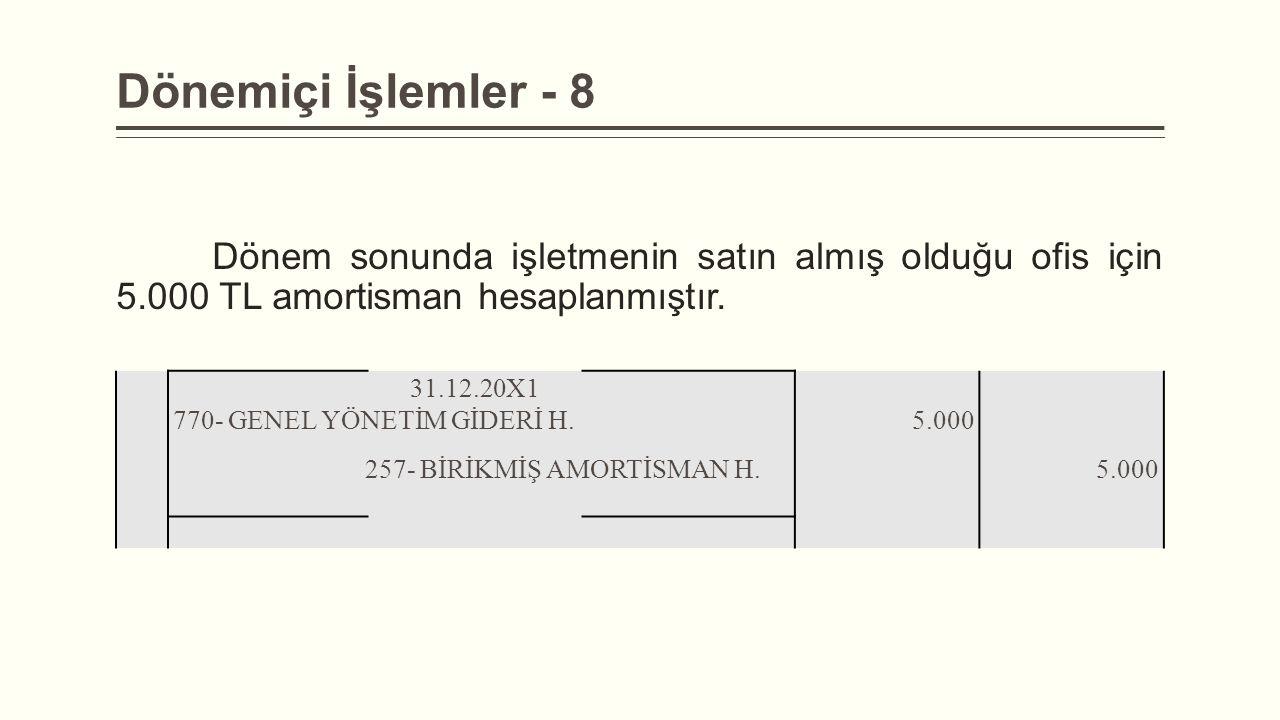 Dönemiçi İşlemler - 8 Dönem sonunda işletmenin satın almış olduğu ofis için 5.000 TL amortisman hesaplanmıştır.