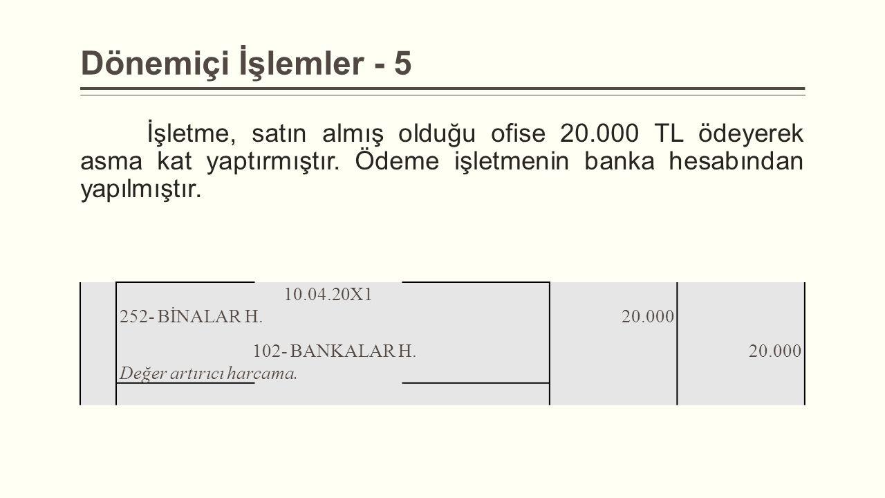 Dönemiçi İşlemler - 5 İşletme, satın almış olduğu ofise 20.000 TL ödeyerek asma kat yaptırmıştır. Ödeme işletmenin banka hesabından yapılmıştır.