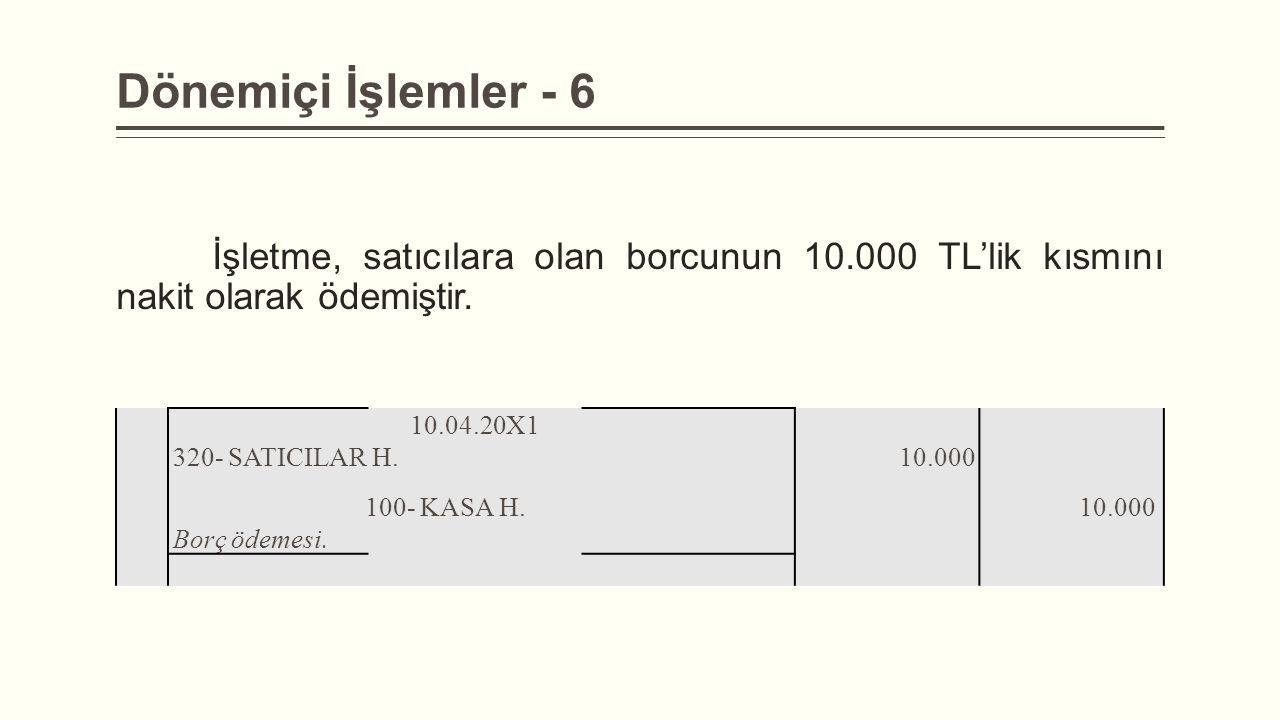 Dönemiçi İşlemler - 6 İşletme, satıcılara olan borcunun 10.000 TL'lik kısmını nakit olarak ödemiştir.