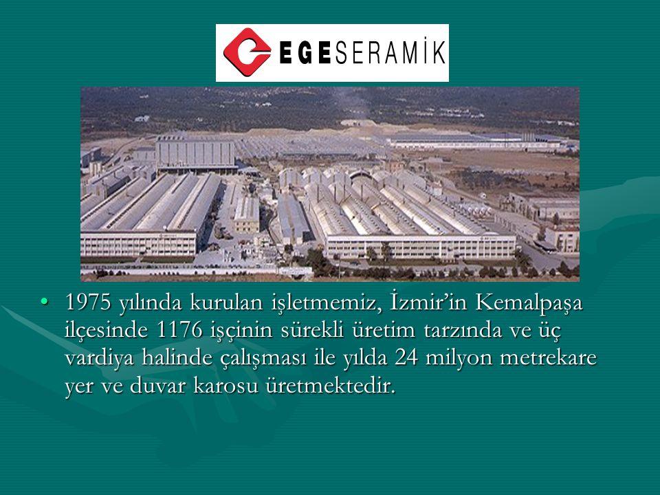1975 yılında kurulan işletmemiz, İzmir'in Kemalpaşa ilçesinde 1176 işçinin sürekli üretim tarzında ve üç vardiya halinde çalışması ile yılda 24 milyon metrekare yer ve duvar karosu üretmektedir.