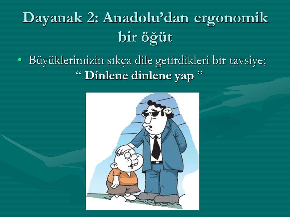 Dayanak 2: Anadolu'dan ergonomik bir öğüt