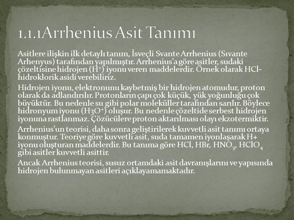 1.1.1Arrhenius Asit Tanımı