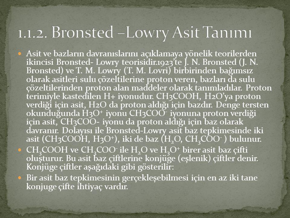 1.1.2. Bronsted –Lowry Asit Tanımı