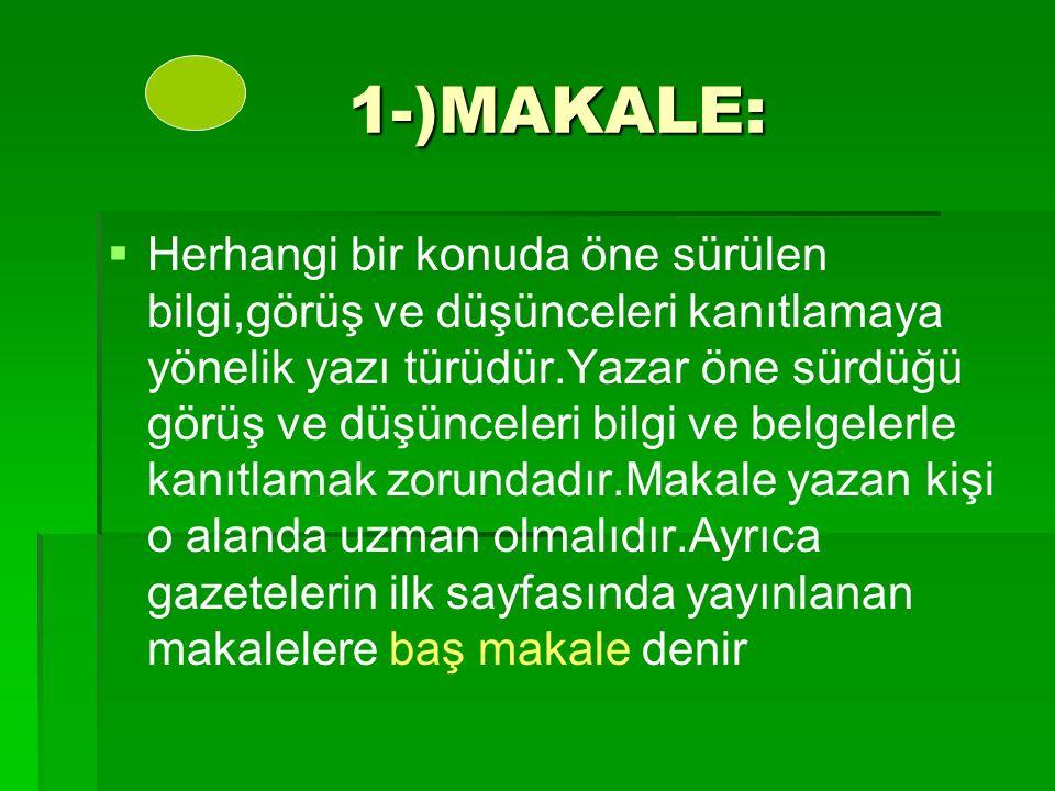 1-)MAKALE: