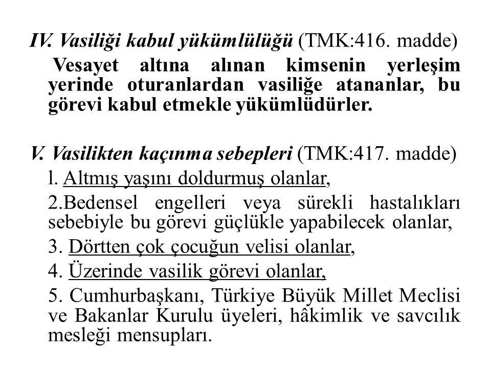 IV. Vasiliği kabul yükümlülüğü (TMK:416