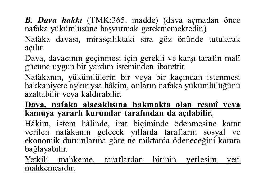 B. Dava hakkı (TMK:365.