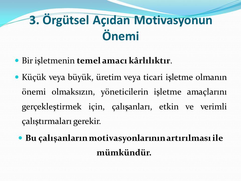 3. Örgütsel Açıdan Motivasyonun Önemi